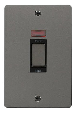 Flat Plate Black Nickel Ingot 2 Gang 45A DP Switch With Neon - Black