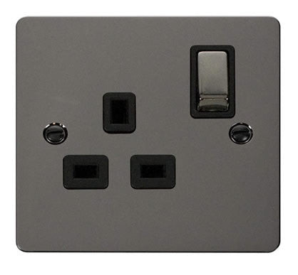 Flat Plate Black Nickel Ingot 1 Gang 13A DP Switched Socket  - Black
