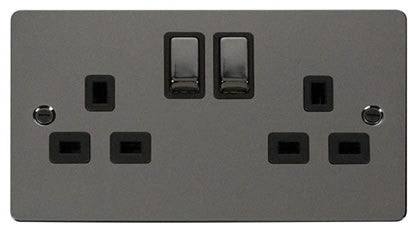 Flat Plate Black Nickel Ingot 2 Gang Twin Double 13A DP Switched Socket  - Black