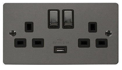 Flat Plate Black Nickel Ingot 2 Gang 1 USB Twin Double 13A DP Switched Socket  - Black