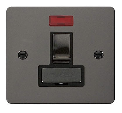 Flat Plate Black Nickel Ingot 13A Switched Connection Unit  + Neon  - Black