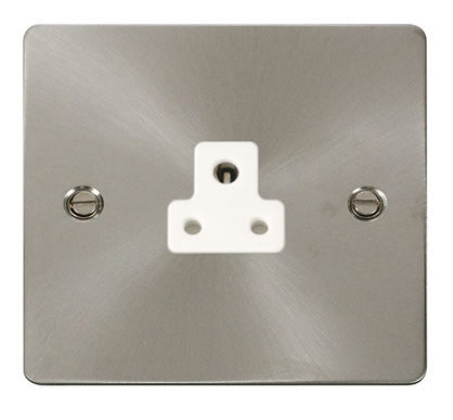 Flat Plate Brushed Steel 2A Round Pin Socket  - White