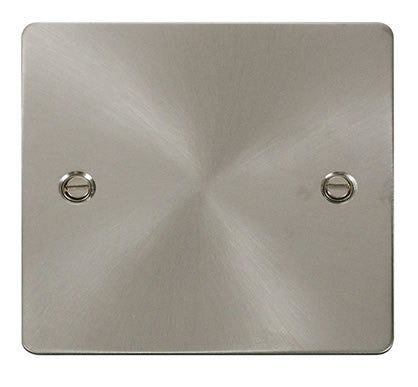 Flat Plate Brushed Steel 1 Gang Blank Plate - White