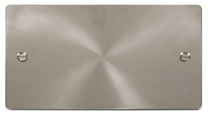 Flat Plate Brushed Steel 2 Gang Blank Plate - White