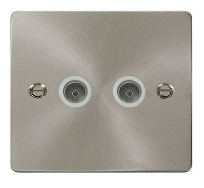 Flat Plate Brushed Steel 2 Gang Coaxial Socket  - White