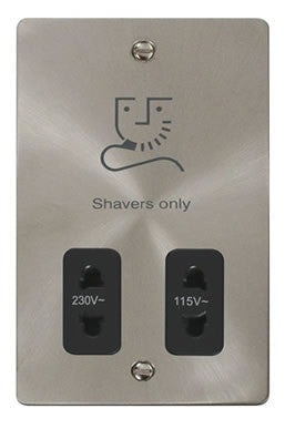 Flat Plate Brushed Steel 115/230v Shaver Socket - Black