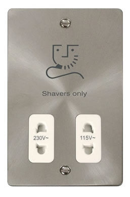 Flat Plate Brushed Steel 115/230v Shaver Socket - White