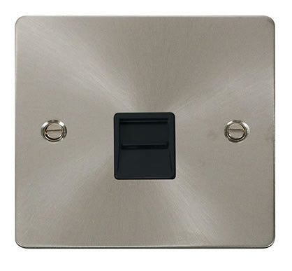 Flat Plate Brushed Steel Single Telephone Socket Master  - Black