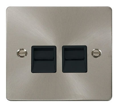 Flat Plate Brushed Steel Twin Telephone Socket Master  - Black