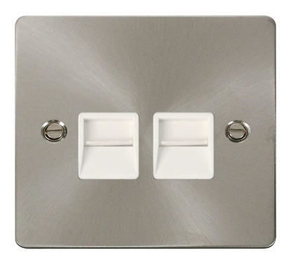 Flat Plate Brushed Steel Twin Telephone Socket Master  - White