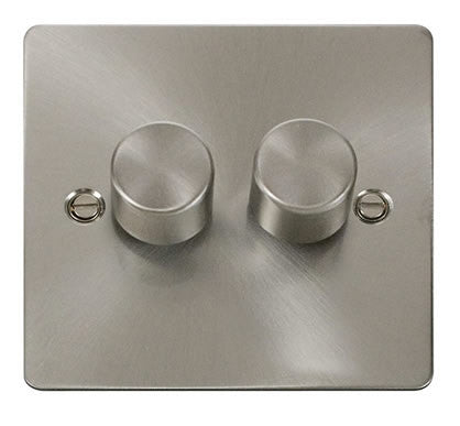 Flat Plate Brushed Steel 2 Gang 2 Way 400w Dimmer Switch - White