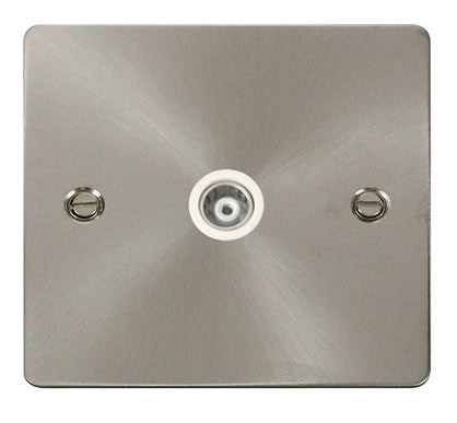 Flat Plate Brushed Steel 1 Gang Isolated Coaxial Socket  - White