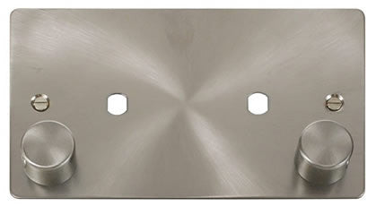 Flat Plate Brushed Steel 2 Gang Plate 2 Module (1630w Max) - White