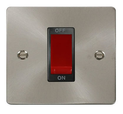 Flat Plate Brushed Steel 1 Gang 45A DP Switch  - Black