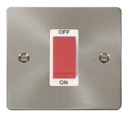Flat Plate Brushed Steel 1 Gang 45A DP Switch  - White