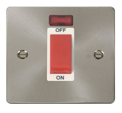 Flat Plate Brushed Steel 1 Gang 45A DP Switch + Neon  - White