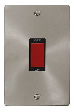 Flat Plate Brushed Steel 2 Gang 45A DP Switch  - Black