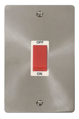 Flat Plate Brushed Steel 2 Gang 45A DP Switch  - White