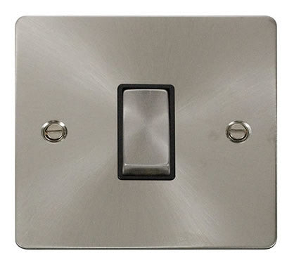 Flat Plate Brushed Steel Ingot 10AX 1 Gang 2 Way Switch  - Black