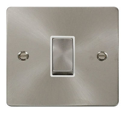 Flat Plate Brushed Steel Ingot 10AX 1 Gang 2 Way Switch  - White