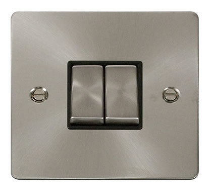 Flat Plate Brushed Steel Ingot 10AX 2 Gang 2 Way Switch  - Black