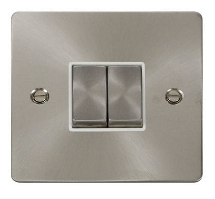 Flat Plate Brushed Steel Ingot 10AX 2 Gang 2 Way Switch  - White