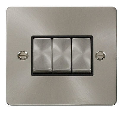 Flat Plate Brushed Steel Ingot 10AX 3 Gang 2 Way Switch   - Black