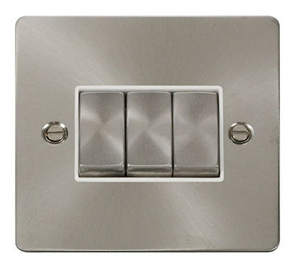 Flat Plate Brushed Steel Ingot 10AX 3 Gang 2 Way Switch   - White