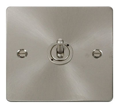 Flat Plate Brushed Steel 10AX 1 Gang 2 Way Toggle Switch - White