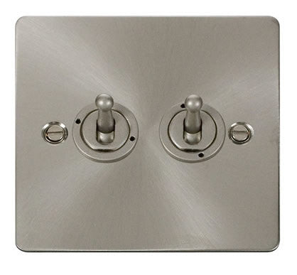 Flat Plate Brushed Steel 10AX 2 Gang 2 Way Toggle  switch - White