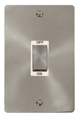 Flat Plate Brushed Steel Ingot 2 Gang 45A DP Switch - White