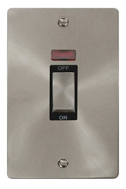 Flat Plate Brushed Steel Ingot 2 Gang 45A DP Switch With Neon - Black