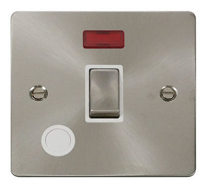 Flat Plate Brushed Steel Ingot 20A 1 Gang DP Switch + Flex  + Neon  - White