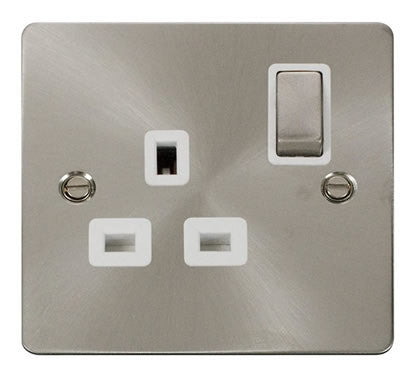 Flat Plate Brushed Steel Ingot 1 Gang 13A DP Switched Socket  - White