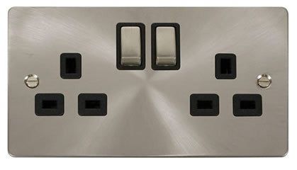 Flat Plate Brushed Steel Ingot 2 Gang Twin Double 13A DP Switched Socket  - Black