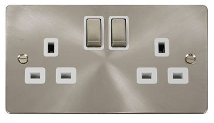 Flat Plate Brushed Steel Ingot 2 Gang Twin Double 13A DP Switched Socket  - White