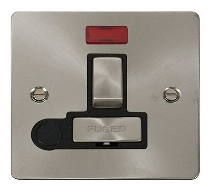 Flat Plate Brushed Steel Ingot 13A Switched Connection Unit  + Flex + Neon - Black