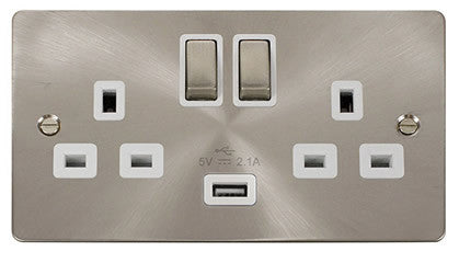 Flat Plate Brushed Steel Ingot 2 Gang 1 USB Twin Double 13A DP Switched Socket  - White