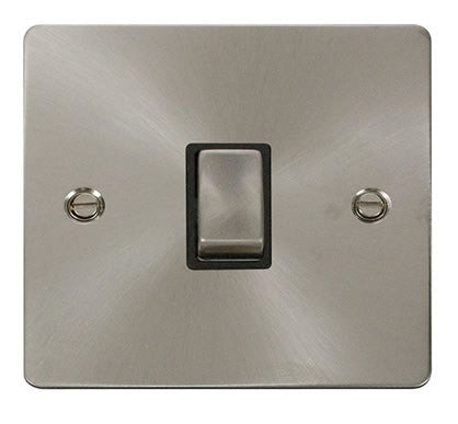 Flat Plate Brushed Steel Ingot 20A 1 Gang DP Switch   - Black