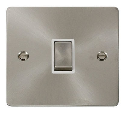 Flat Plate Brushed Steel Ingot 20A 1 Gang DP Switch   - White