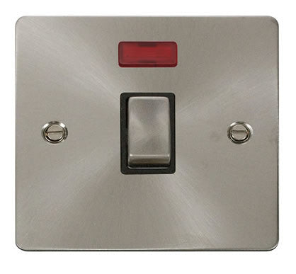Flat Plate Brushed Steel Ingot 20A 1 Gang DP Switch  + Neon  - Black