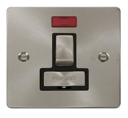Flat Plate Brushed Steel Ingot 13A Switched Connection Unit  + Neon  - Black