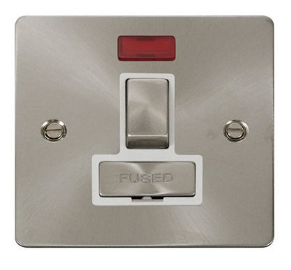 Flat Plate Brushed Steel Ingot 13A Switched Connection Unit  + Neon  - White