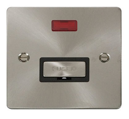 Flat Plate Brushed Steel Ingot 13A Connection Unit  + Neon  - Black