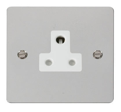 Flat Plate Polished Chrome 5A Round Pin Socket  - White