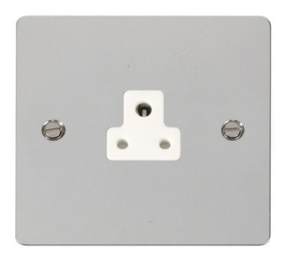 Flat Plate Polished Chrome 2A Round Pin Socket  - White