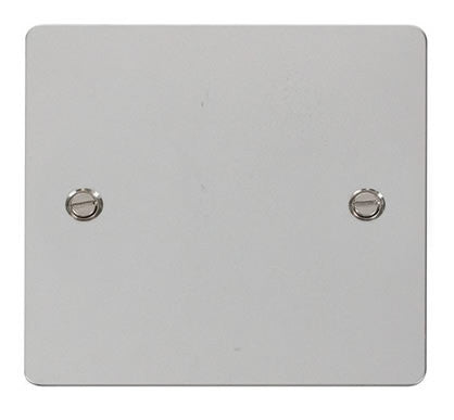 Flat Plate Polished Chrome 1 Gang Blank Plate - White