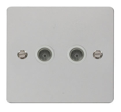 Flat Plate Polished Chrome 2 Gang Coaxial Socket  - White