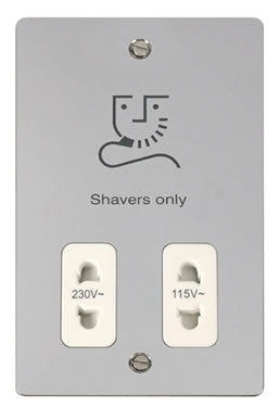 Flat Plate Polished Chrome 115/230v Shaver Socket - White