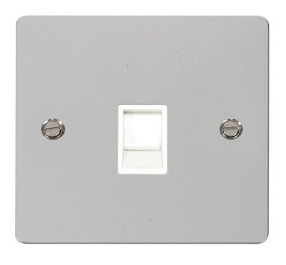 Flat Plate Polished Chrome Single Rj11 Socket - White